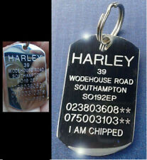 More details for dog tag engraved collar tags small medium large stainless steel pet id & ring