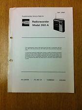 EKCO 350-A Radio Recorder Supplementary Service Data Sheet - Vintage Radio