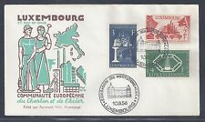 1956 Luxembourg Coal and Steel Community First Day Cover - Scott #315-317