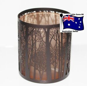 YANKEE CANDLE Votive HOLDER ~ FOREST SILHO ~ METAL OUTSIDE GLASS INSIDE