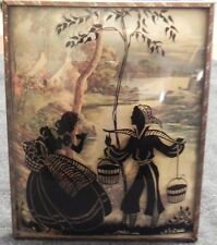 "SILHOUETTE PICTURE REVERSE PAINTED Couple BUBBLE GLASS 4"" X 5"" ANTIQUE Frame"