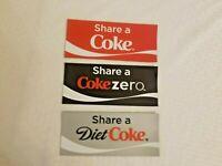 coca cola share a coke diet coke zero Fridge Magnets Plastic Rubber lot of 3