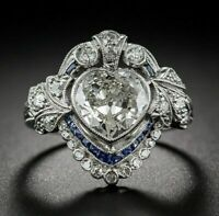 Vintage Art Deco Engagement Wedding Ring 2.1Ct Heart Shape Diamond 14k Gold Over