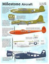 10,000 Milestone Aircraft: B-17, B-24, P-38, P-47 F6F (1/72 decals, Iliad 72010)