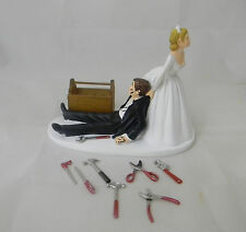 Wedding Reception ~Mechanic Tools~ Wood Tool Box  Cake Topper Bride Dragging