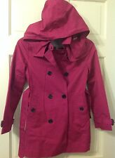 Burberry Children Girls Raincoat Rain Coat New Fuschia Jacket Hooded NWT Sz 10Y