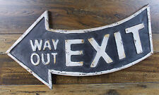 """ANTIQUE-STYLE 21"""" CURVED METAL """"EXIT WAY OUT"""" WALL SIGN  rustic weathered look"""