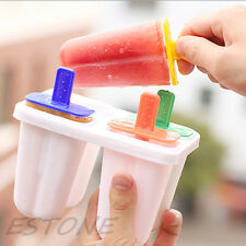 4 Cell DIY Frozen Ice Cream Mold Popsicle Maker Lolly Mould Tray Pan Kitchen