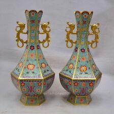 24  Royal Bronze Cloisonne  Dragon Ears Six Horns Bottle pot Palace Vase Pair