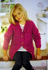 Stylecraft 8933 Knitting Pattern Girls Ladies Cardigan in Life Aran