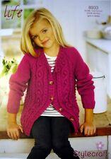 Stylecraft 8933 Knitting Pattern Girls Ladies Cardigan in Life Aran 518670f23