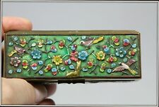 """""""Antique Hand Enameled Bronze Trinket Box from China""""  Stamped (4.5"""" W x 1.5"""" H)"""