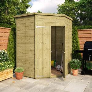 5 x 5 Pressure Treated Windowless Garden Corner Shed w/ Double Door Corner Shed