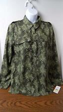 Tommy Hilfiger 3-Tone Green Polyester L/S Blouse Women's Size M NWT