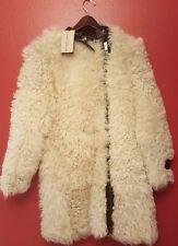 BURBERRY LONDON Shearling Fur Coat Natural White SZ 4 NEW NWT RET $4895 JACKET