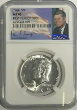 1964 P NGC MS65 SILVER KENNEDY HALF DOLLAR FIRST YEAR SIGNATURE 90% COIN JFK