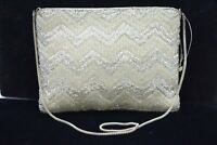 Walborg NWT Bag Clutch Purse Heavy Beaded Metallic White Silver Vintage Formal