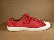 Men Polo Ralph Lauren Ferguson Sz 9.5 D M Red Leather Sports Sneaker Tennis Shoe