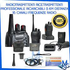RICETRASMITTENTI PORTATILI WALKIE TALKIE UHF 5WATT 16 CANALI CON CUFFIE BATTERIE