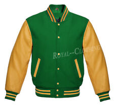 Letterman Varsity College Green Wool and Genuine Gold Leather Sleeves Jacket