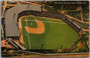 "1940s Atlanta, Georgia Postcard ""Ponce De Leon Park"" Baseball Stadium View Linen"