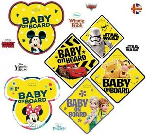 BABY ON BOARD Disney Frozen Cars Minnie/Mickey Mouse Car Window Sign BRAND NEW