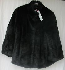 LADIES MARKS AND SPENCER PER UNA BLACK FAUX FUR  JACKET SIZE LARGE FIT 16 - 18