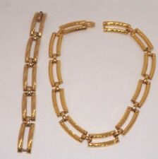 Gold Tone Links Necklace & Bracelet Set - HHKK