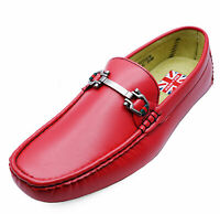 MENS RED SLIP-ON MOCCASINS SMART WORK LOAFERS CASUAL SUIT DRIVING SHOES 6-11