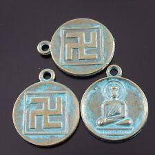 25pcs Atq Bronze Vintage Alloy Buddha Round Pendant Charms 22*18*2mm 39209