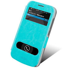 MOFI Leather Stand Flip Case Cover for Telstra Huawei Ascend Y600 - Blue
