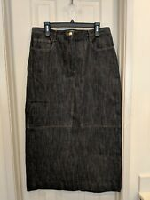 Divine Brentwood Womens Blue Denim Two Pocket Long Skirt  Sz 14 Exc Cond