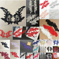 1 Pair A lots Bridal Lace Flower Embroidery Wedding Applique Sequins Clothes