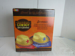Wild West Cowboy Kids Party Set ~ 12 Hats and 12 Bandanas / 6 Red and 6 Blue