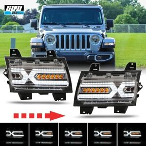For 2018+ Jeep Wrangler JL Gladiator JT X Shape LED DRL Sequential Turn Signal