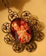 Shiny Petal Rim Mary the Madonna with Christ Holding Flowers Pendant Necklace