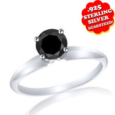 Gold Over 925 Sterling Silver Moissanite Solitaire Band Ring 14K White