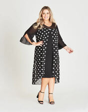 Autograph RTM made in Australia polka dot chiffon overlay Bell sleeve dress 22
