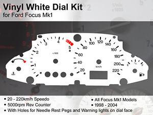 Ford Focus Mk1 (1998 - 2004) - 220kmh / 5000rpm RP/WL - Vinyl White Dial Kit