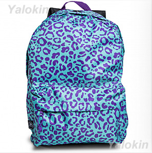 NEW Purple Cheetah Lightweight Compact Size Fashion Backpack Shoulder Book Bag