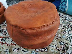 Genuine Leather Pouffe Moroccan Handmade New Dark Tan Poufe Footstool Pouf
