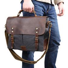 """Vintage Leather Canvas Men 14"""" Laptop Shoulder Messenger Cross Body Bag Handbag"""