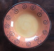 Tabletops Unlimited Ambrosia Tangerine Serving Plate Dish Swirls Hand Painted Ec