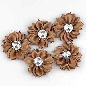 "50/100X 2"" Satin Ribbon Flowers Rhinestone Bows Sewing Appliques DIY Craft Decor"