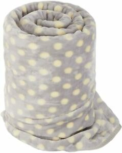 LARGE Grey Polka Dot Mink FUR Blanket Sofa / Bed Throw 150x200cm