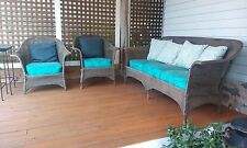 Antique Lloyd Loom 3pc  Wicker Furniture Set Sofa and two chairs
