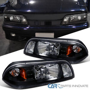 Fit Ford 87-93 Mustang Replacement Black Euro 1-Piece Style Headlights Lamps