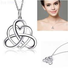 925 Sterling Silver Irish Heart Celtic Vintage Pendant Necklace Women Jewelry