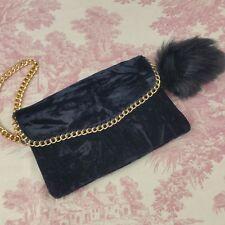 Black Velvet Wristlet Phone Clutch Bag Purse Gold Colored Chain Trim Pom Pom