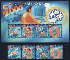 Sri Lanka 2000 Millennium Wissenschaft Flugzeuge Space 1241-44 + Block 79 ** MNH